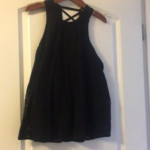 Hollister black lace criss cross back tank top